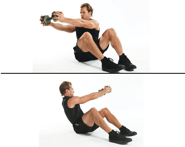9 dumbbell Russian twist Sit holding a dumbbell in front ...  |Russian Twist With Dumbbell