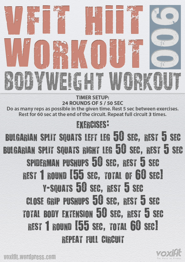 Vfit Hiit Bodyweight Workout