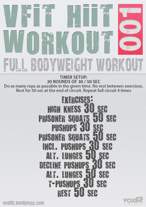 Vfit Hiit Full Bodyweight Workout