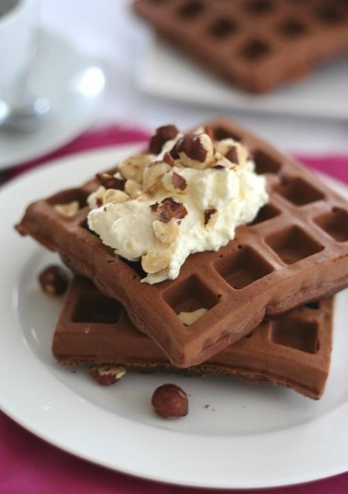 17. Gluten-Free Chocolate Hazelnut Protein Waffles