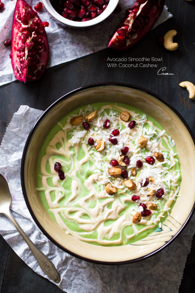 9. Superfood Avocado Smoothie Bowl with Cashew Cream