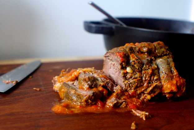 16. Oven-Braised Beef with Tomatoes and Garlic