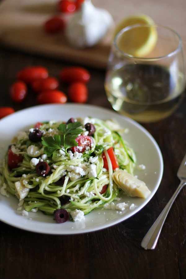 17. Zucchini Noodles With Tomatoes, Artichokes, Olives, and Feta