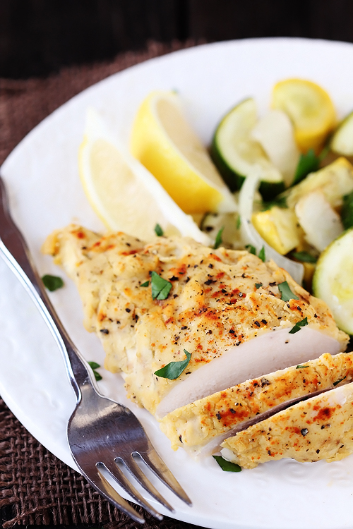 2. Hummus-Crusted Chicken