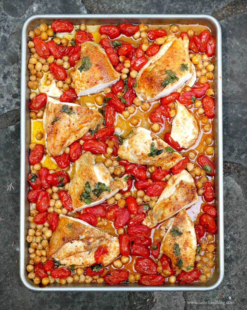 25. Roasted Chicken Breasts with Tomatoes and Chickpeas