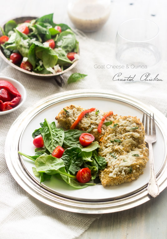 26. Quinoa-Crusted Chicken with Goat Cheese