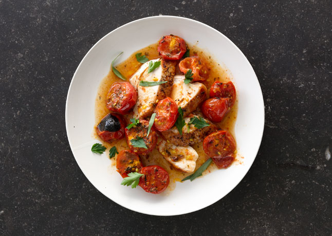 27. Chicken With Herb-Roasted Tomatoes And Pan Sauce