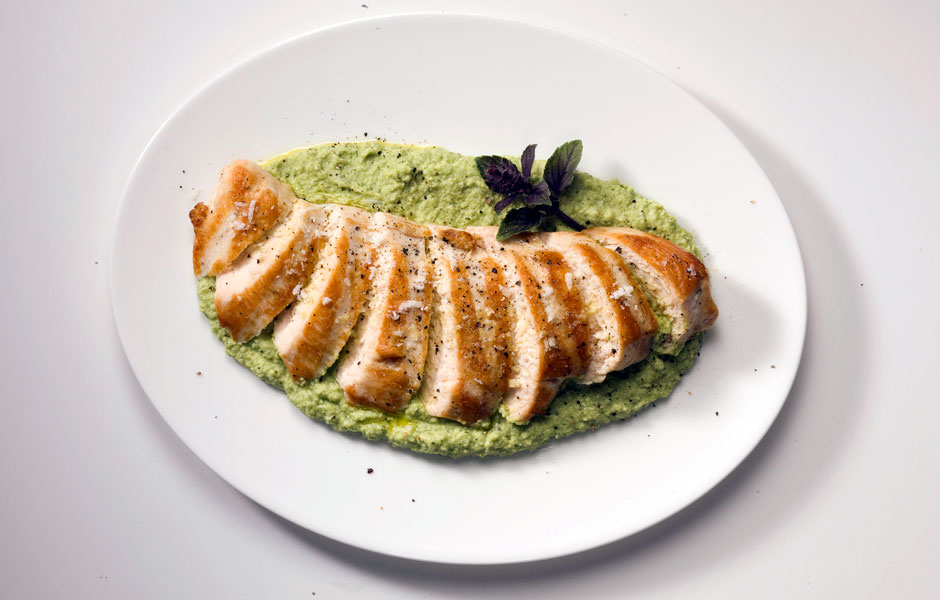 28. Grilled Chicken With Edamame Skordalia