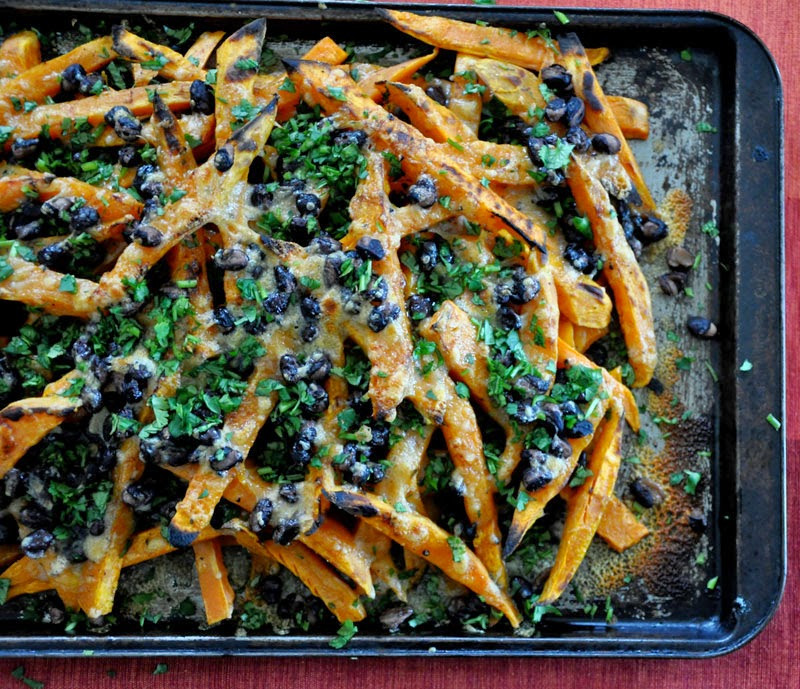 "3. Sweet Potato ""Nachos"" with Cheddar and Black Beans"