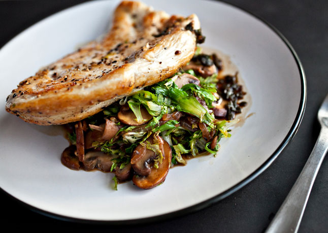 30. Chicken Breasts With Mushrooms And Wilted Frisée