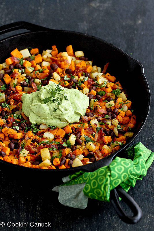 4. Sweet Potato Hash with Creamy Avocado Sauce
