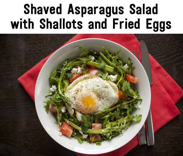 Shaved Asparagus Salad With Shallots and Fried Eggs 395 calories from ...