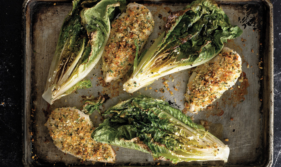 7. Parmesan Chicken With Caesar Roasted Romaine