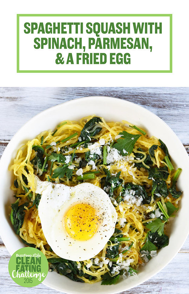 8. Spaghetti Squash With Spinach, Parmesan, and a Fried Egg