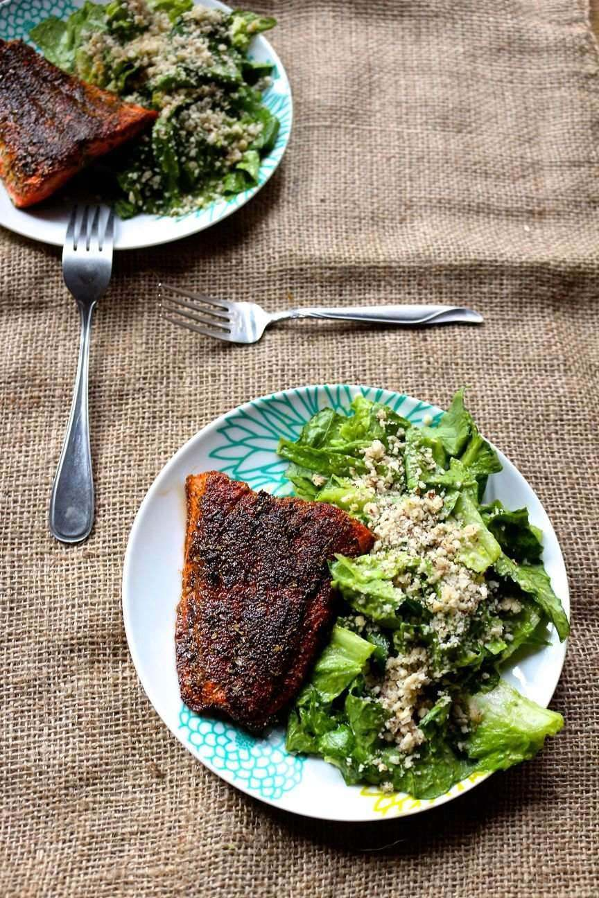 10.  Blackened Cajun Salmon with Mayo Free Avocado Caesar Salad Recipe