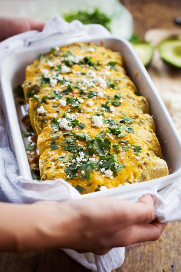 10. Butternut Squash & Mushroom Enchiladas With Tomatillo Sauce