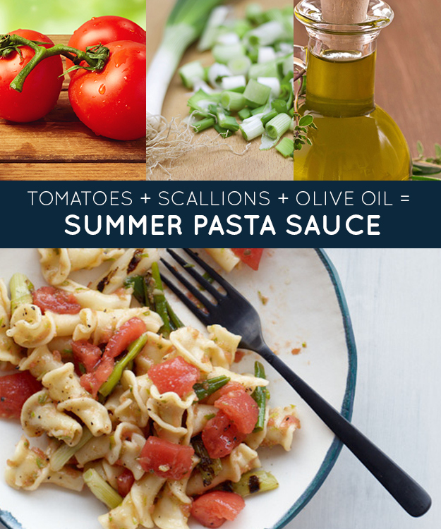 13. Pasta with Fresh Tomatoes and Grilled Scallions