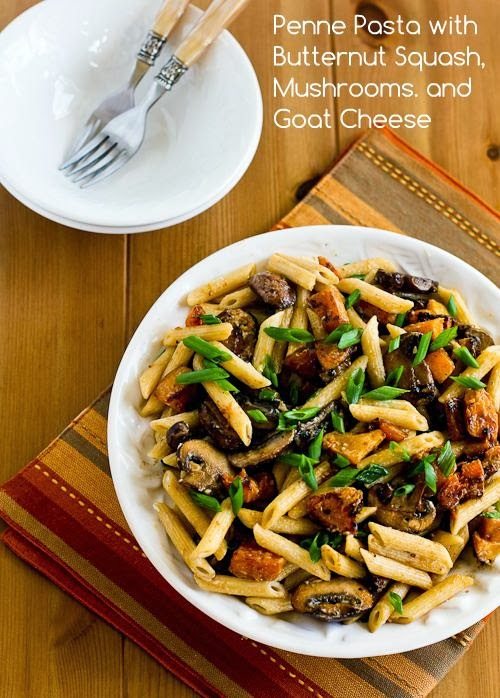 16. Recipe for Vegetarian Penne Pasta with Butternut Squash, Mushrooms, Scallions, and Goat Cheese