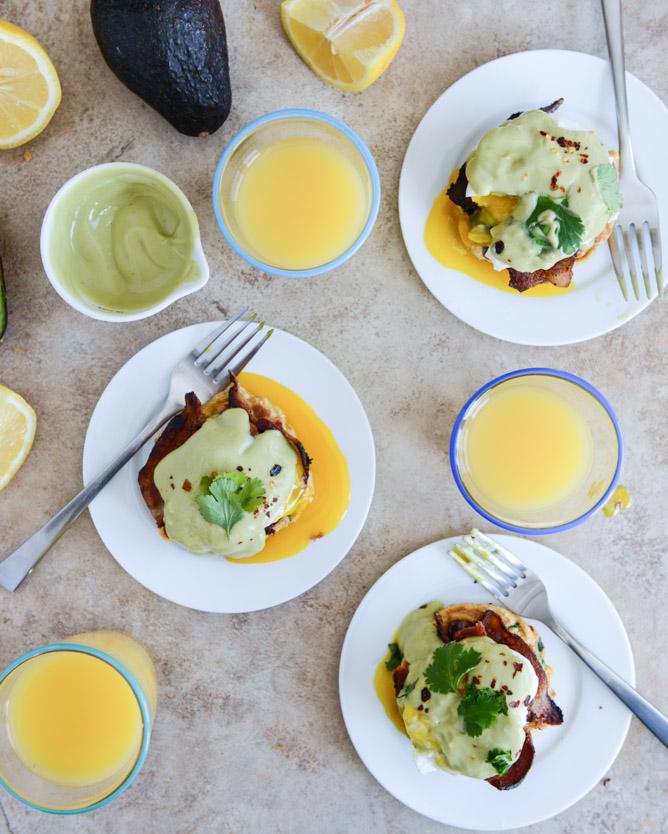 20. Sweet Corn Cake Eggs Benedict With Avocado Hollandaise