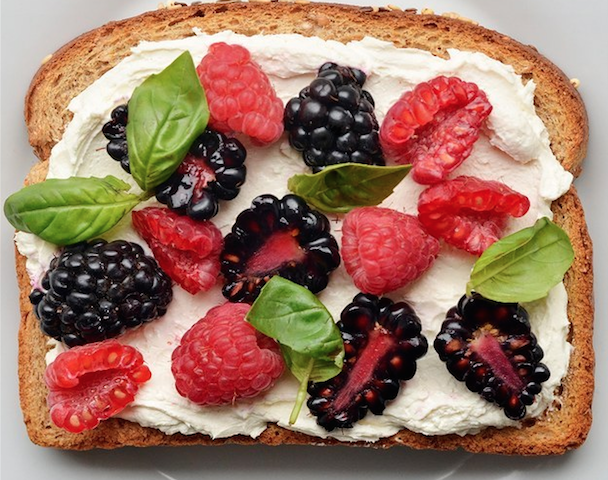 1. Berries and Basil and Cream Cheese Toast