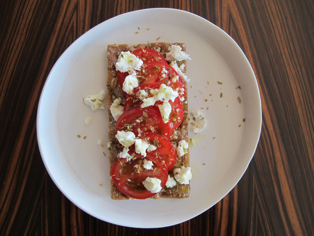 13. Tomato and Feta Cheese on Crispbread
