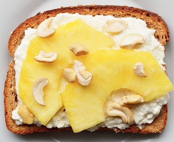 22. Pineapple, Cashew, and Cottage Cheese Toast