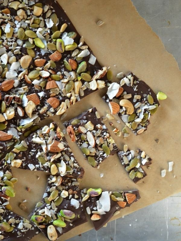 43. Salted Trail Mix Dark Chocolate Bark