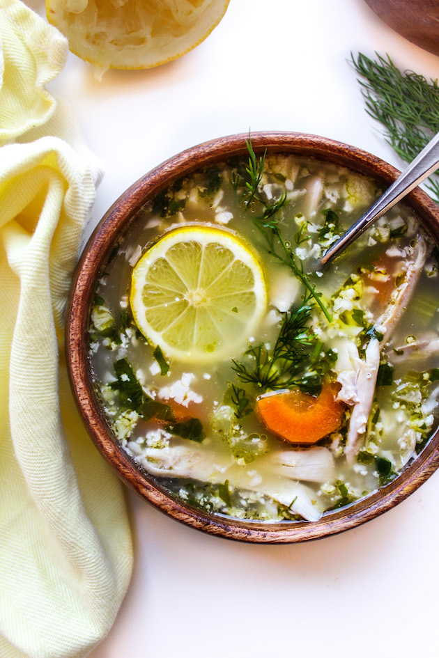 27 low carb high protein recipes that makes fat burning easy lemon chicken soup with cauliflower rice forumfinder Choice Image