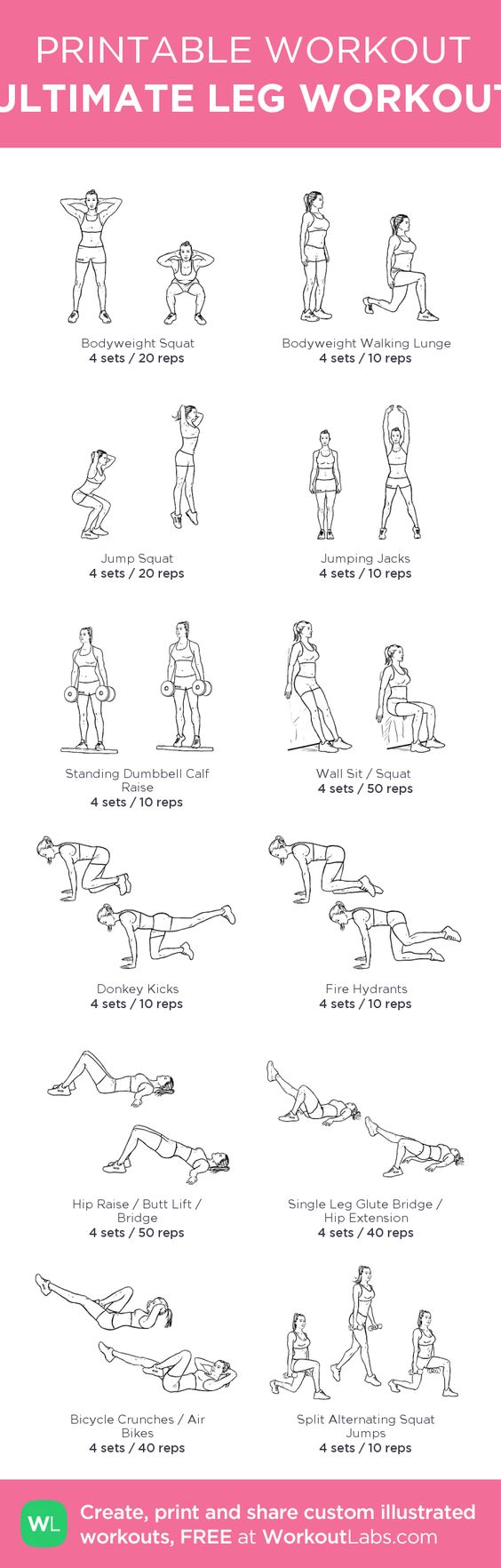 picture relating to Printable Workouts referred to as 31 Leg Workout routines That Will Form Your Decreased Human body Completely