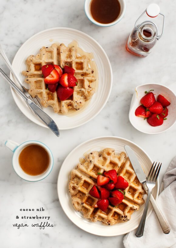 Strawberry Vegan Waffles