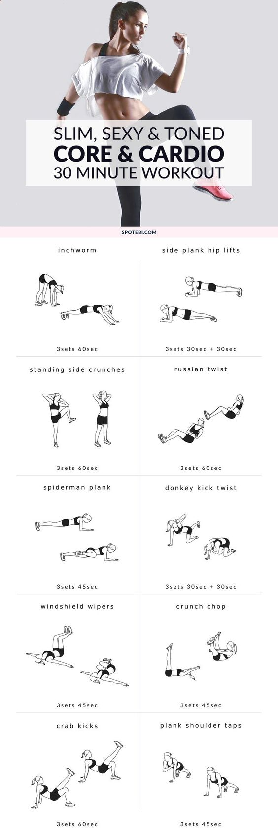 Slim Sexy Toned Core Cardio 30 Minute Workout
